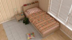 Children bedroom, interior design. 3d illustration Royalty Free Stock Image