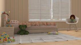 Children bedroom, interior design. 3d illustration Stock Photos