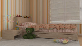 Children bedroom, interior design. 3d illustration Royalty Free Stock Photo