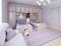 Children bedroom / kids room with purple decoration Royalty Free Stock Photography