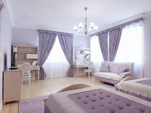 Children bedroom neoclassical style. Luxury furniture in puple and beige colors in bedroom with light laminate flooring. 3D render Stock Photos