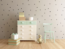 Children bedroom. Nursery interior, children room, playroom, interior, 3d render Royalty Free Stock Photo
