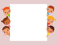 Children behind blank sign Royalty Free Stock Image