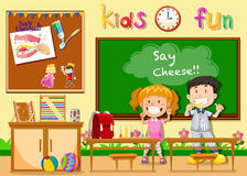 Children being happy in classroom Royalty Free Stock Image