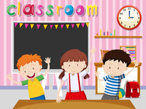 Children being happy in classroom Royalty Free Stock Images