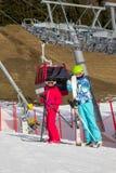 Children below ski lift Stock Photography