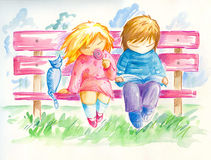 Children on the bench. Two children sitting on the bench in park.Boy reading a book,girl licking lollipop.Picture I have paint by myself with watercolors and Royalty Free Stock Photo