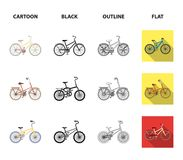 Children bicycle and other kinds.Different bicycles set collection icons in cartoon,black,outline,flat style vector. Symbol stock illustration Royalty Free Stock Image