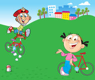 Children on bicycles Royalty Free Stock Image