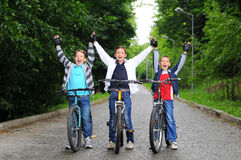 Children on bicycles Royalty Free Stock Photography