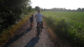Children with bike in park. Two children brothers play with the bikes in a park in a dusty road stock video footage