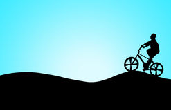 Children and bike on the surface. Children and bike silhouette on the surface royalty free stock photography