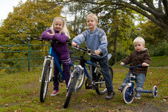 Children on bikes Royalty Free Stock Images