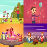 Children Birthday Concept Icons Set. With barbeque and family symbols cartoon isolated vector illustration Royalty Free Stock Photo