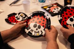 Pirate theme - Children birthday decoration party for kids stock image