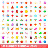 100 children birthday icons set, cartoon style. 100 children birthday icons set in cartoon style for any design vector illustration royalty free illustration