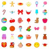 Children birthday icons set, cartoon style. Children birthday icons set. Cartoon style of 36 children birthday vector icons for web isolated on white background Royalty Free Stock Photos