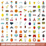 100 children birthday icons set, flat style Stock Image