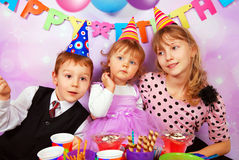 Children on birthday party Stock Photos