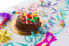Children birthday party with chocolate cake Royalty Free Stock Photos