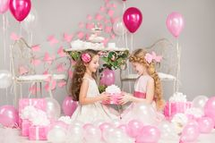 Children Birthday Party, Girl Giving Present Gift Box, Pink Kids Stock Photos