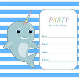 Children birthday party invitation card template Baby narwhal with rainbow horn Stock Images