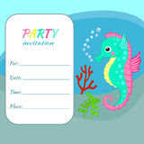 Children birthday party invitation card template Colorful seahorse. On sea bottom background Funny sea animal, underwater world for sea party invite, nautical Stock Image