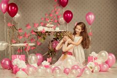 Children Birthday Party, Kid Girl Covering Eyes, Presents Balloons Royalty Free Stock Photo