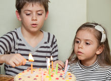 Children at a birthday party Stock Photos