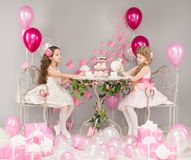 Children Birthday Party, Kids Girls Sitting In Retro Cafe Royalty Free Stock Image