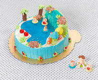 Children birthday pool cake isolated
