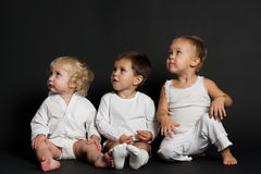 Children on black background royalty free stock images