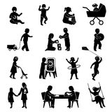 Children Black Set. Children black silhouettes playing  active games set  vector illustration Stock Photography