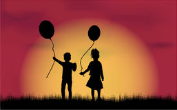 Children  black silhouettes . Royalty Free Stock Images