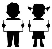 Children with blank banner. Illustration silhouette of a boy and girl holding blank banner for your text. Isolated white background. EPS file available Stock Photos