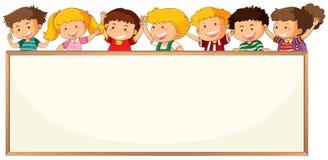 Children on blank frame template. Illustration stock illustration