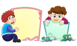 Children with blank space. Illustration of two children with blank space for text Stock Photo
