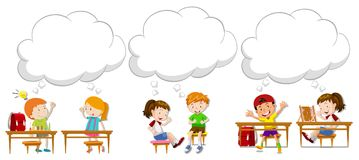 Children with blank speech bubbles. Illustration vector illustration