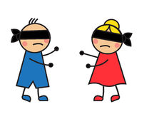 Children blindfolded seek each other Royalty Free Stock Photos