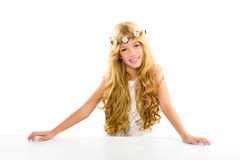 Children blond girl with spring flowers crown Stock Photography