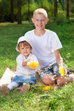 Children blow bubbles Stock Images