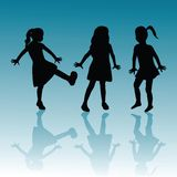 Children on blue background Royalty Free Stock Photography