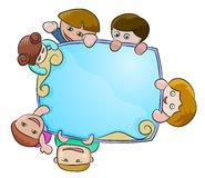 Children with blue blank space. Illustration of three children with blue blank space for text Royalty Free Stock Photography