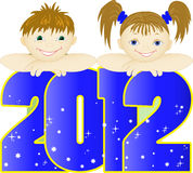 Children  on  blue  number. Boy and girl look out the large blue numbers 2012 Royalty Free Stock Images