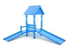 Children blue plastic slide Royalty Free Stock Image