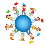 Children on the blue sphere with colorful flags Royalty Free Stock Photography