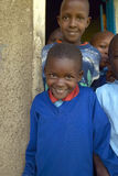 Children in blue uniforms at school near Tsavo National Park, Kenya, Africa Stock Images