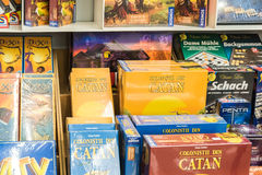 Children Board Games For Sale On Library Shelf Stock Photos