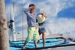 Children on board of sea yacht Royalty Free Stock Photo