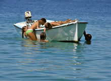 Children on the boat Royalty Free Stock Photography